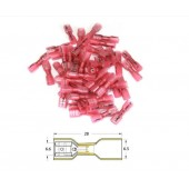 Bout a Bout Femelle Plat a Sertir Thermo-Rétractable Bihr Diam0,5Mm²/1,5Mm² - 50Pcs Transparent Rouge