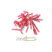 Bout a Bout Male Rond a Sertir Thermo-Rétractable Bihr Diam0,5Mm²/1,5Mm² - 50Pcs Transparent Rouge